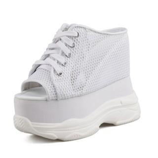 Hidden Heel Platform Shoes Increase 13cm / 5Inch Lace-Up Hidden Heel Walking Shoes