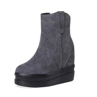 Hidden Wedge Heel Combat Boot Extra High 12cm / 4.7Inch Zip Taller Hieght Ankle Boots