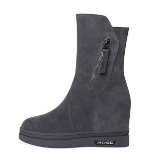 Hidden Wedges Combat Boot Elevator 10cm / 4Inch Zip Height Increasing Elevator Mid Calf Boots