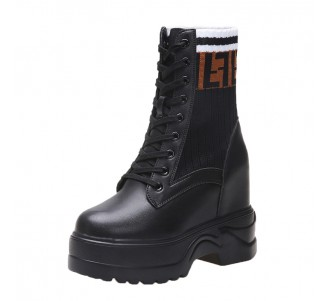 Taller Hieght Combat Boot Gain Tall 11Cm / 4.3Inch Lace-Up Elevating Ankle Boots